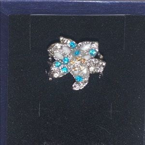 Silver Flower Ring, size 10